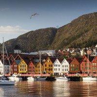 Historické centrum Bergenu. Hanzovní domy ve čtvrti Bryggen