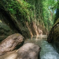 Opičím pralesem protéká říčka ukrytá v hlubokém kaňonu