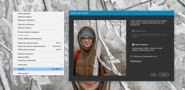 Aplikování super rozlišení na fotku v prostředí Camera RAW