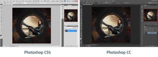 Od Photoshopu CS6 je prostředí Photoshopu tmavé