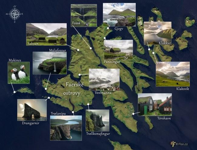 Mapa zajímavých míst na Faerských ostrovech