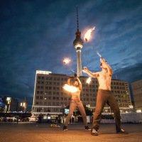 Fireshow na Alexanderplatzu