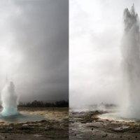 Gejzír Strokkur chrlí vařící vodu do výšky přes 20 metrů