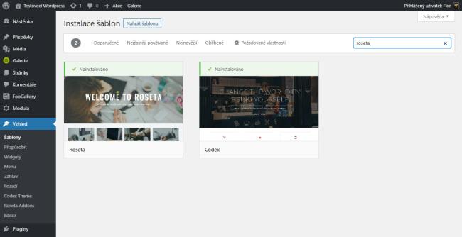 V instalaci šablon napište roseta a WordPress najde dvě šablony. Je potřeba nainstalovat obě - Roseta je rodičovská šablona Codexu