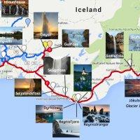 Červená barva ukazuje naši trasu. Bydleli jsme v městečku Hella nedaleko Seljalandsfossu