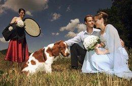 Projasnění stínů - srovnejte obličeje novomanželů a družičky