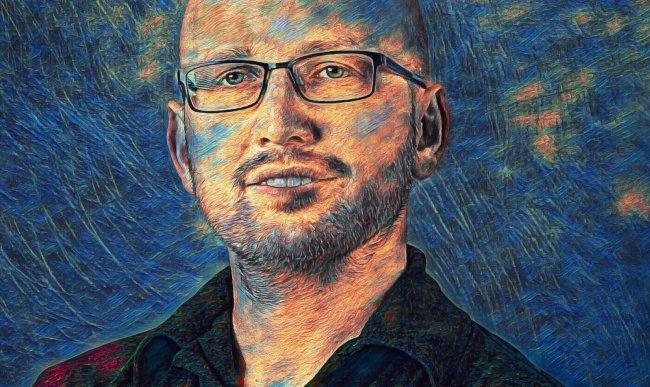 Přenesení stylu z obrazu Hvězdná noc od Vincenta van Gogha. Následné doladění barev a tonality.