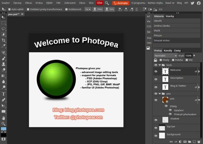 Uživatelské rozhraní Photopea jako by z oka vypadlo Photoshopu