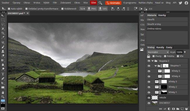 PSD načtené do Photopea vypadá úplně stejně jako ve Photoshopu