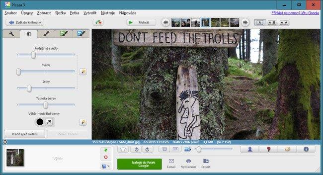 Google Picasa - úprava pomocí posuvníků