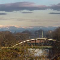 """Výhled na Sněžku, v popředí most """"Železňák"""""""