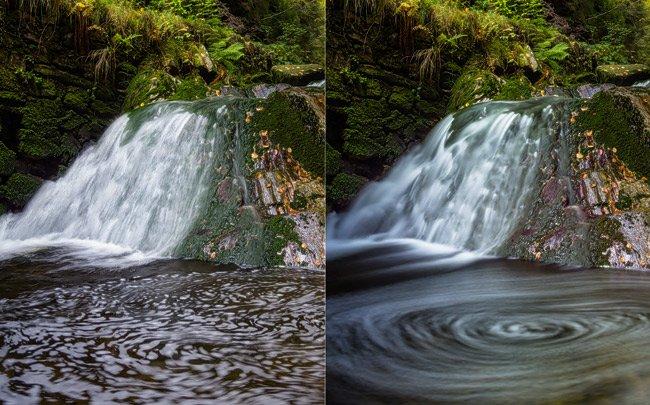 Vlevo vodopád focený na krátký a dlouhý čas
