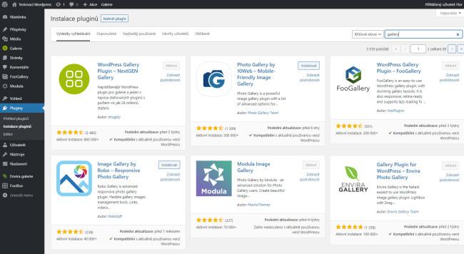 Instalace pluginů ve WordPressu. Do vyhledávacího políčka napíšete o co máte zájem a WordPress najde pluginy, které vyhovují hledaným klíčovým slovům.