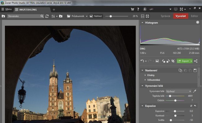 Zoner Photo Studio 18 - úprava pomocí posuvníků